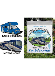happiness on wheels motorhome camping flag