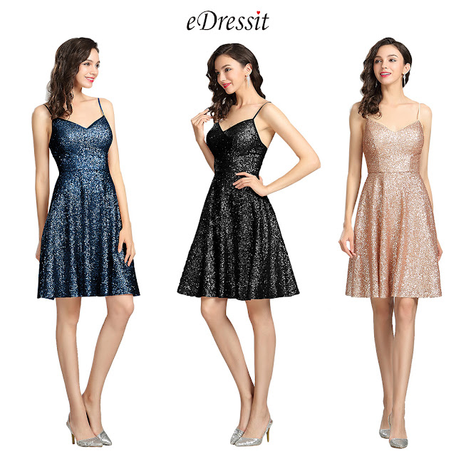 Sequin Gold Party Cocktail Evening Dress