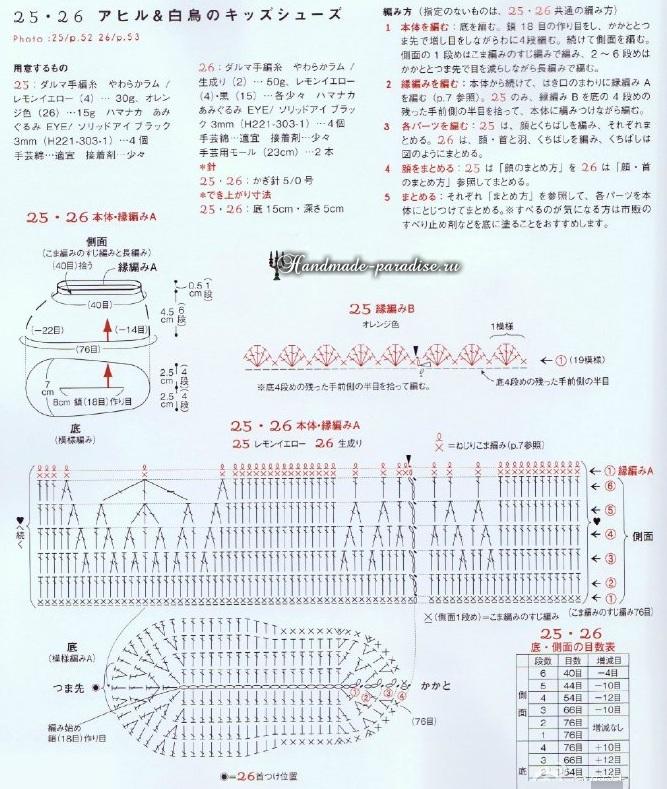 Лебеди и уточки - детские тапочки крючком (1)