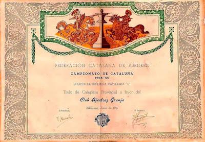Diploma de Campeón del Club Ajedrez Granja en 1955