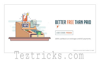 As we know that Now a days Freecharge is offering back to back offers . And now Freecharge is again back with Free Recharge offer for its New users Means its offering 100% cashback offer to its New users To Recharge your Mobile for free . And the Maximum cashback is set to Rs.55 . So if are a new user of Freecharge or if you have new number which is not registered with Freecharge then this is the great offer for You. So you can say that you can recharge your mobile for by freecharge coupons or Freecharge promocode. This Offer is Applicable on Freecharge App,web and mWeb.So finnaly without wasting your Time follow below  steps to recharge your Mobiles/dth online by Freecharge recharge offers .   Follow Below Steps to get 100% Cashback on Freecharge . :-    How To Redeem ?   • Install Freecharge Application or go to Freecharge.in .   Create/Login to your FreeCharge account.  Select Recharges/Bill Payments, and choose your operator.  Type in the bill amount, and in the next step use promo code FEB55.  Pay through preferred payment method.  Enjoy the cashback in your FreeCharge Wallet.  Terms & Conditions :-     Valid on successful Recharges/ Bill Payments done till 20th Feb 2017.  No minimum transaction amount. Max cashback of Rs.55  FEB55 promocode has to be applied to avail cashback offerValid only Once per New user/credit/debit card/Mobile number.  Valid on Credit Card/Debit Card transactions onlyCashback will be credited to your FreeCharge Wallet which can be redeemed within 185 days from date of credit, and is non transferable.  Not valid for Add Cash, Netbanking. FC Balance & Airtel transactions (Postpaid/Prepaid/DTH/Landline)Offer not valid on virtual cards and International Cards which are issued outside India.  We reserve the right to end/modify any or all offers at our discretion without any prior noticeOffer valid on FreeCharge App, Web & mWeb.  For all other queries please email care@FreeCharge.comWe reserve the right to restrict cashback for any account with suspicious behavior or invalid details/credentials.   FreeCharge has the right to ask for documents to prove his/her identity for any account   Thanks for reading this Post . Stay tuned with TezTricks.com for More Updates .  You may Like our Facebook page fb.com/TezTricks for updates .  If you get benifited then Plz Share it with your friends because Sharing is Caring . .   And If You have Any Quiry Then  feel free To Comment Below..  Thank You!! .