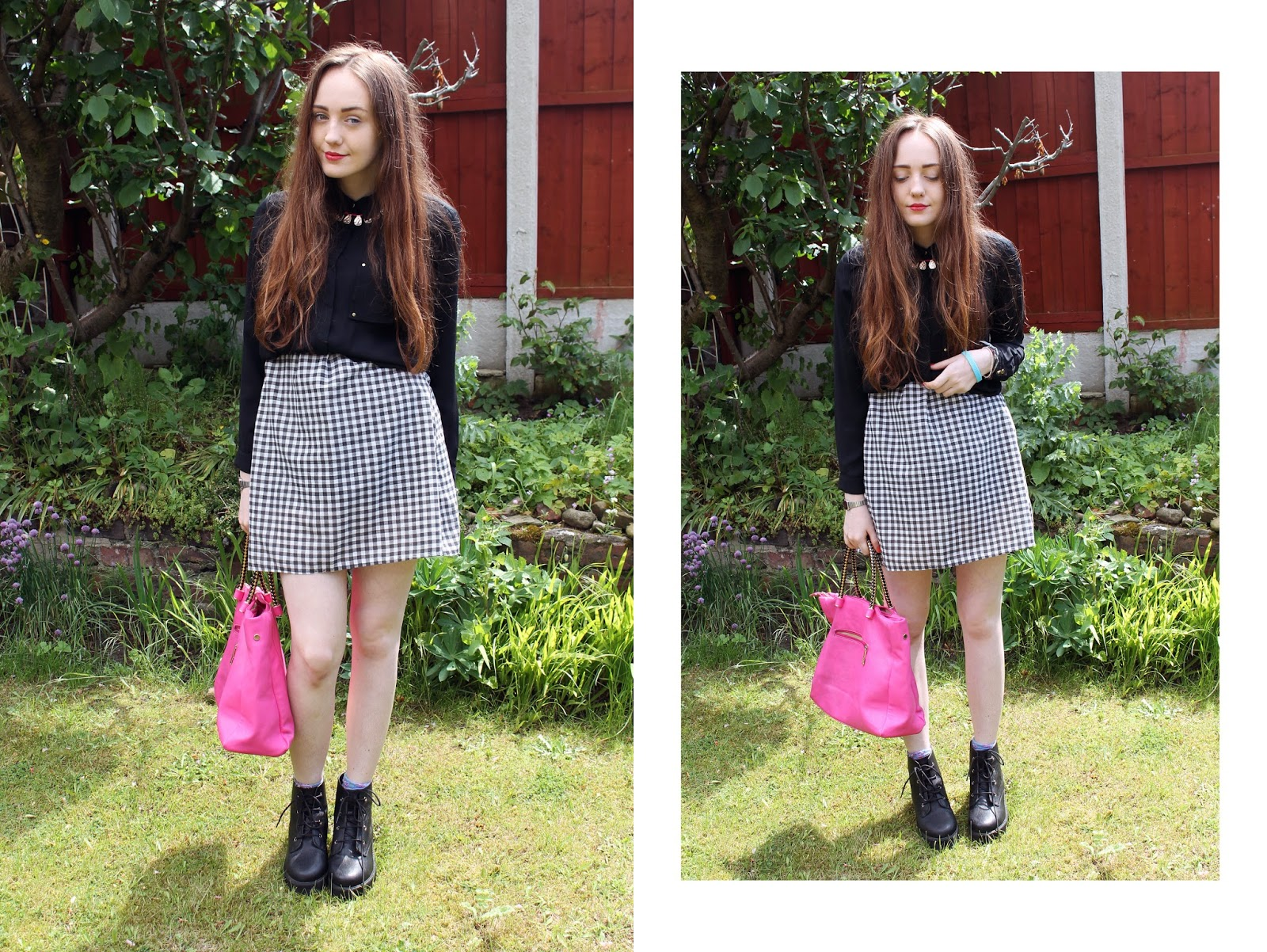 black chiffon shirt belted at waist, gingham homemade smock dress, pink handbag cheap, bovver boots, bother boots, asos revolution ankle boots