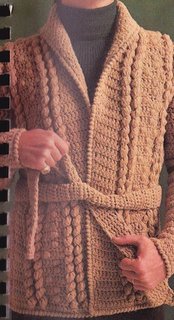 The Vintage Pattern Files: Free 1970's Crochet Pattern - His & Hers Popcorn Jacket