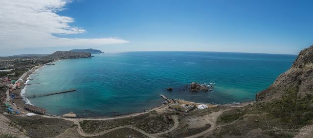 Панорама на пляж Судака из Генуэзской (Судакской) крепости