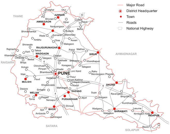 Talukas In Pune District Map Maharashtra