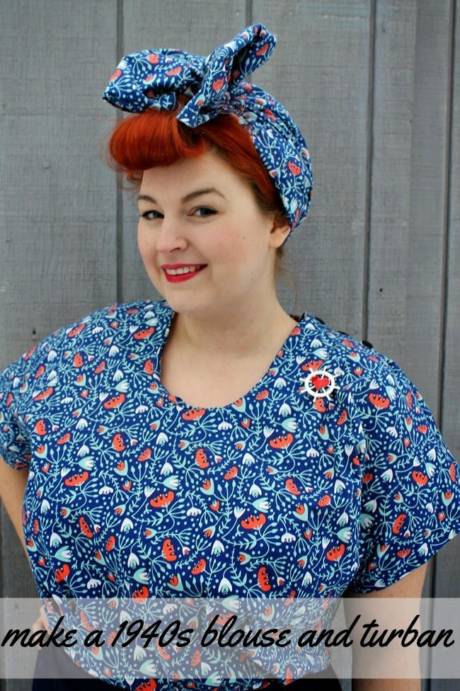 40s Style With M Co And Me: 40s Fashion Calendar February: Make A Blouse And Turban