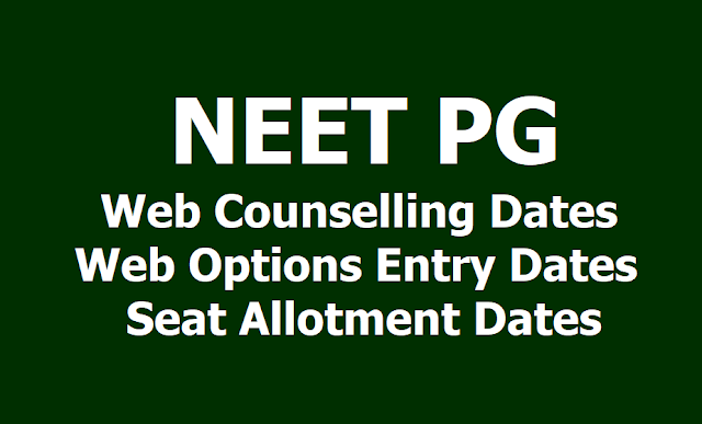 NEET PG 2019 Counselling Dates, Web Options Entry Dates, Seat Allotment Dates