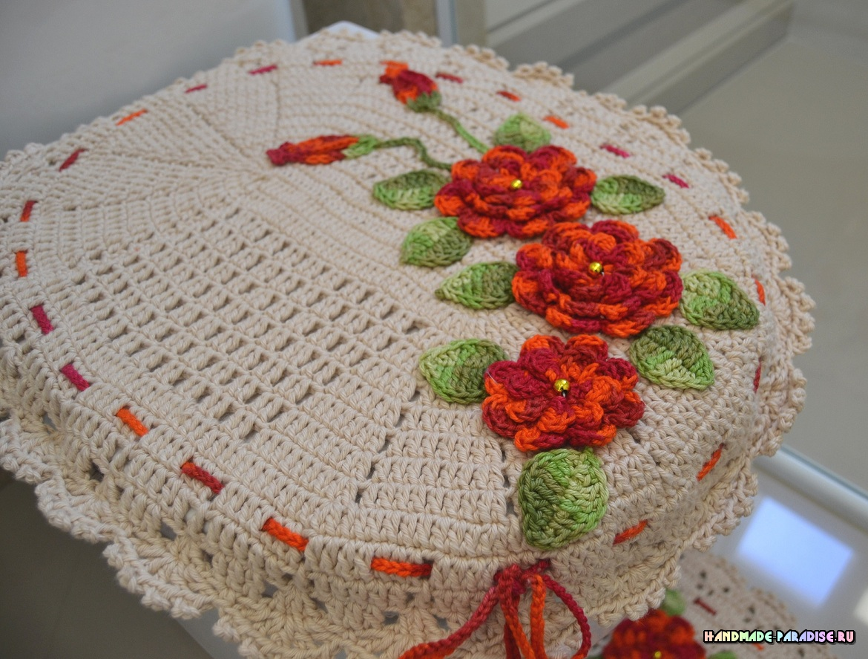 Комплект ковриков крючком для ванной (2)