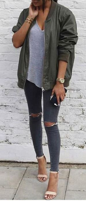 street style outfit: jacket + top + rips + heels