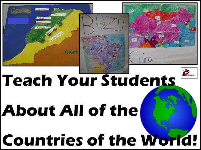 Country study project - a year long project to teach 3rd graders about the countries of the world. Our first unit is geography and climate and our first project is to create a map. Brought to you by Raki's Rad Resources.