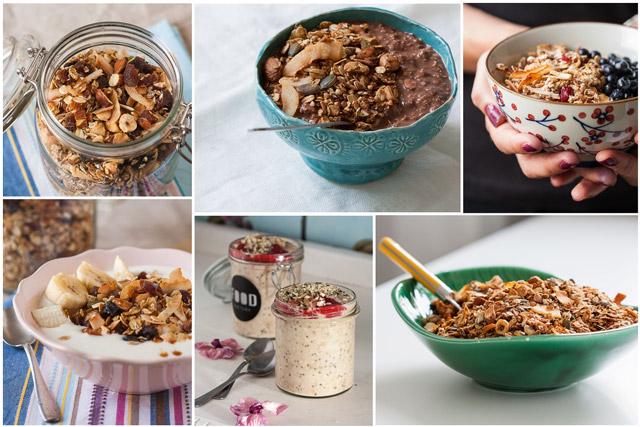 Domaća granola poslužena sa voćem i jogurtom i prekonoćna ovsena kaša - kolaž