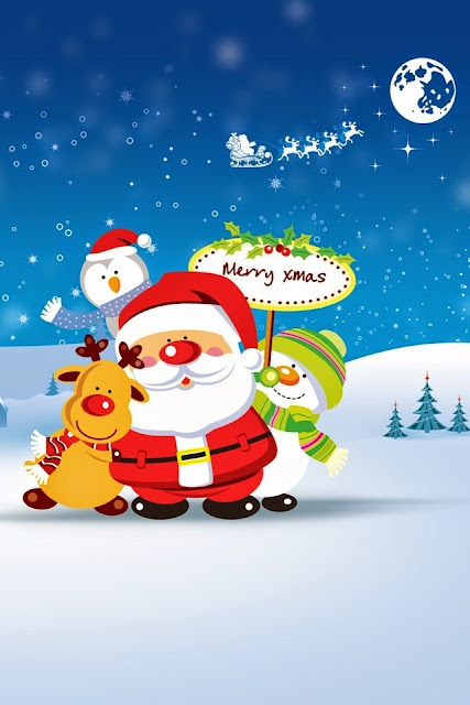 merry christmas santa image for iphone 4s wallpaper