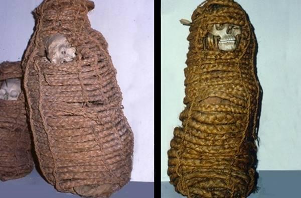 La antigua momia [derecha] de una mujer que murió en Perú en el siglo XI. Sus intestinos han revelado la presencia de genes resistentes a los antibióticos. En total, 11 de estas momias se encontraban en la colección del museo.