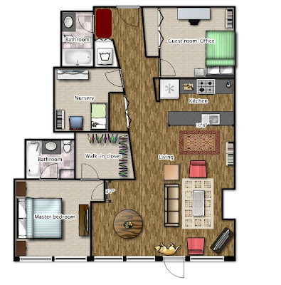 Floor plan for our three bed, two bath Chicago loft condo, with furnishings