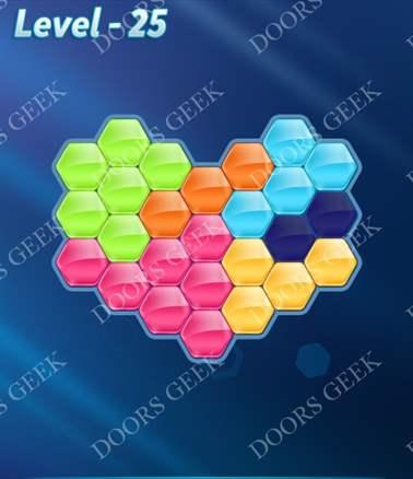 Block! Hexa Puzzle [6 Mania] Level 25 Solution, Cheats, Walkthrough for android, iphone, ipad, ipod