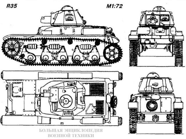 Общий вид легкого танка R35 (Char leger d'accompagnement)