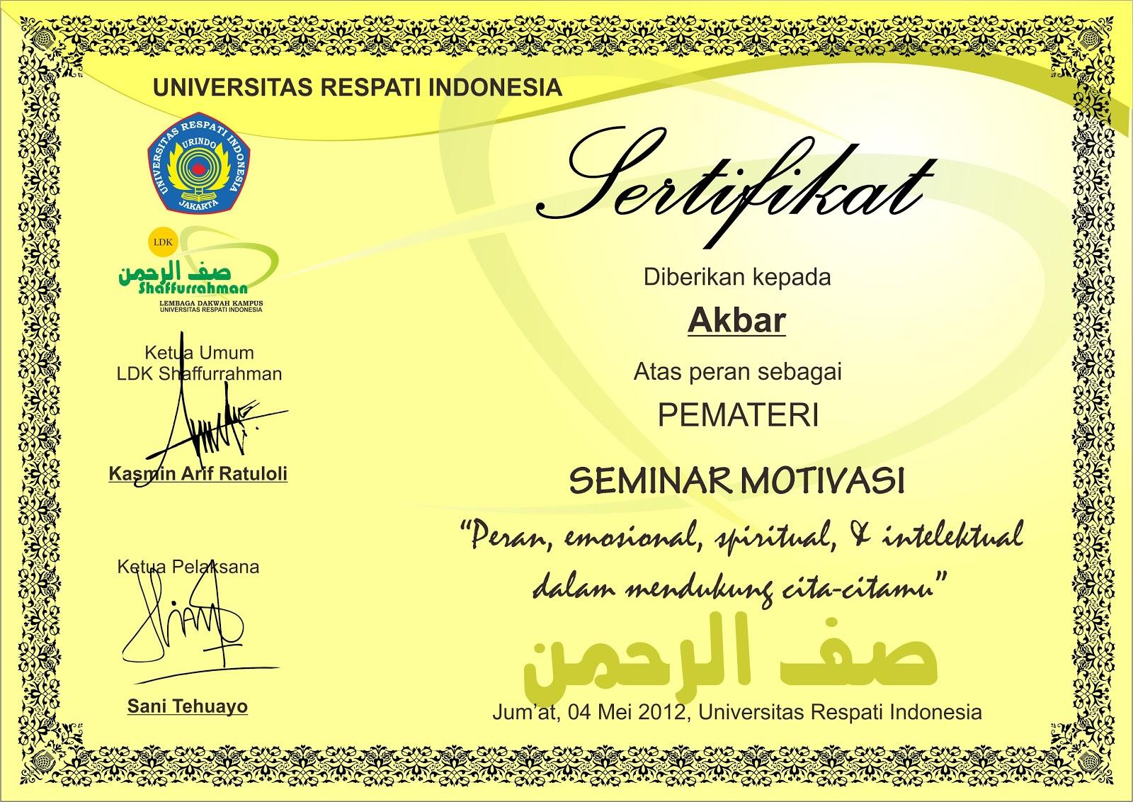 Download Desain Sertifikat format CDR - Asal Tau