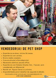 Vendedor(a) de PET SHOP