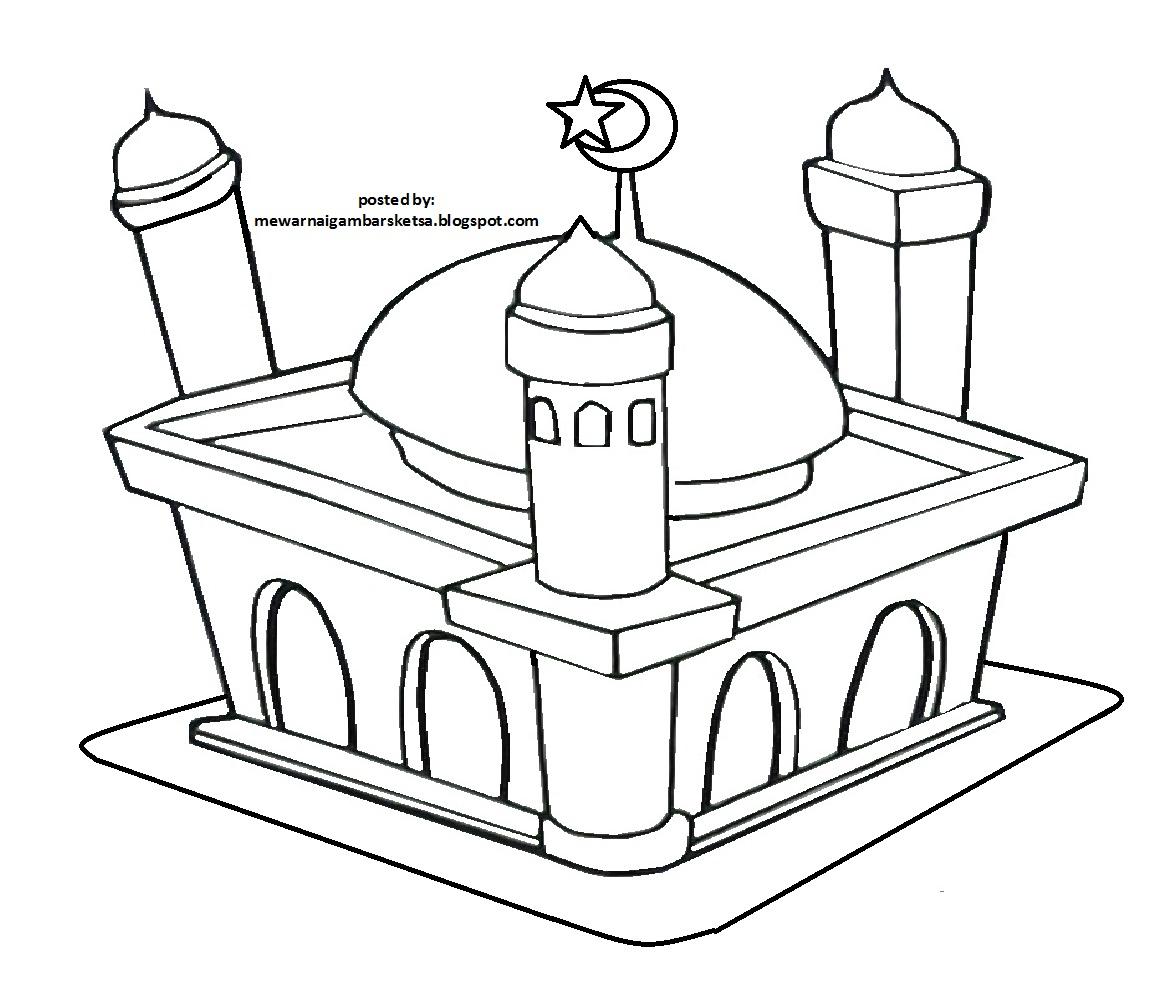 Mewarnai Gambar Kartun Tempat Ibadah Agama