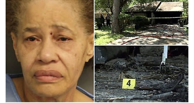 Woman sets herself ablaze moments before she's arrested for killing husband
