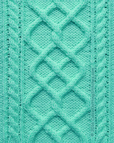 Cable Knitting Stitches Patterns : Cable Pattern 3: Argyle Diamonds and 2/2RC, 2/2LC Cable Knitting Stitches
