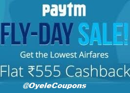 Paytm Flight 555 Rs cashback offer