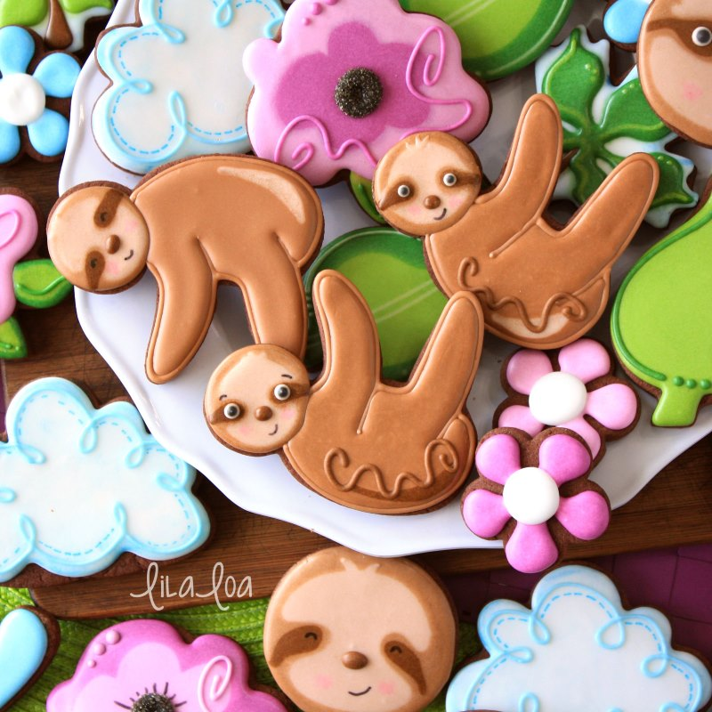 Adorable decorated chocolate sugar cookies - sloths, flowers, and clouds