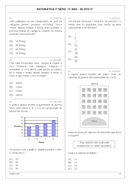 Atividades de matemática para imprimir 5 ano