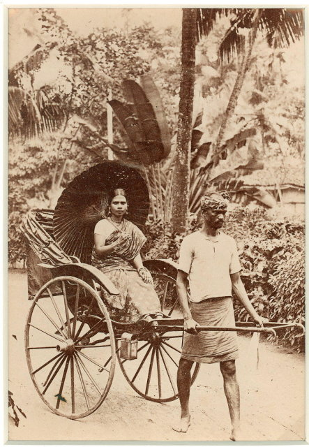Man Pulling a Lady in a Rickshaw - c1880