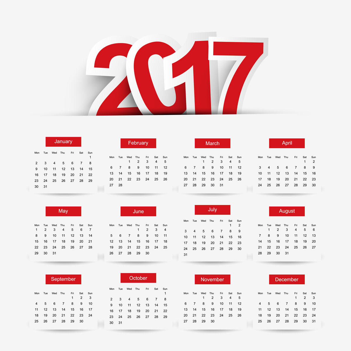Calendar 2017 vector free download new template for New farnichar design 2016