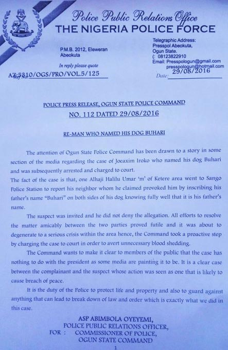 "Lawyer roasts Ogun State police over statement on ""Buhari"" dog"