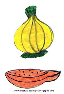 Desenho de cebola e mamão