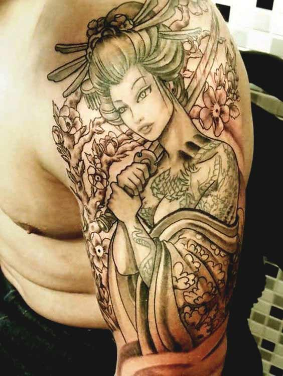 Beautiful geisha tattoo designs on arm designs for men