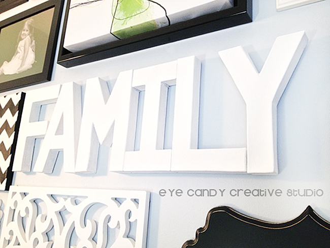 family word art, paper mache letters craft, crafting with paper mache