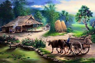 Lukisan Jaman Dulu Tema Kampung Halaman