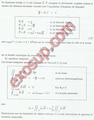 les équations de Maxwell dans le vide smp