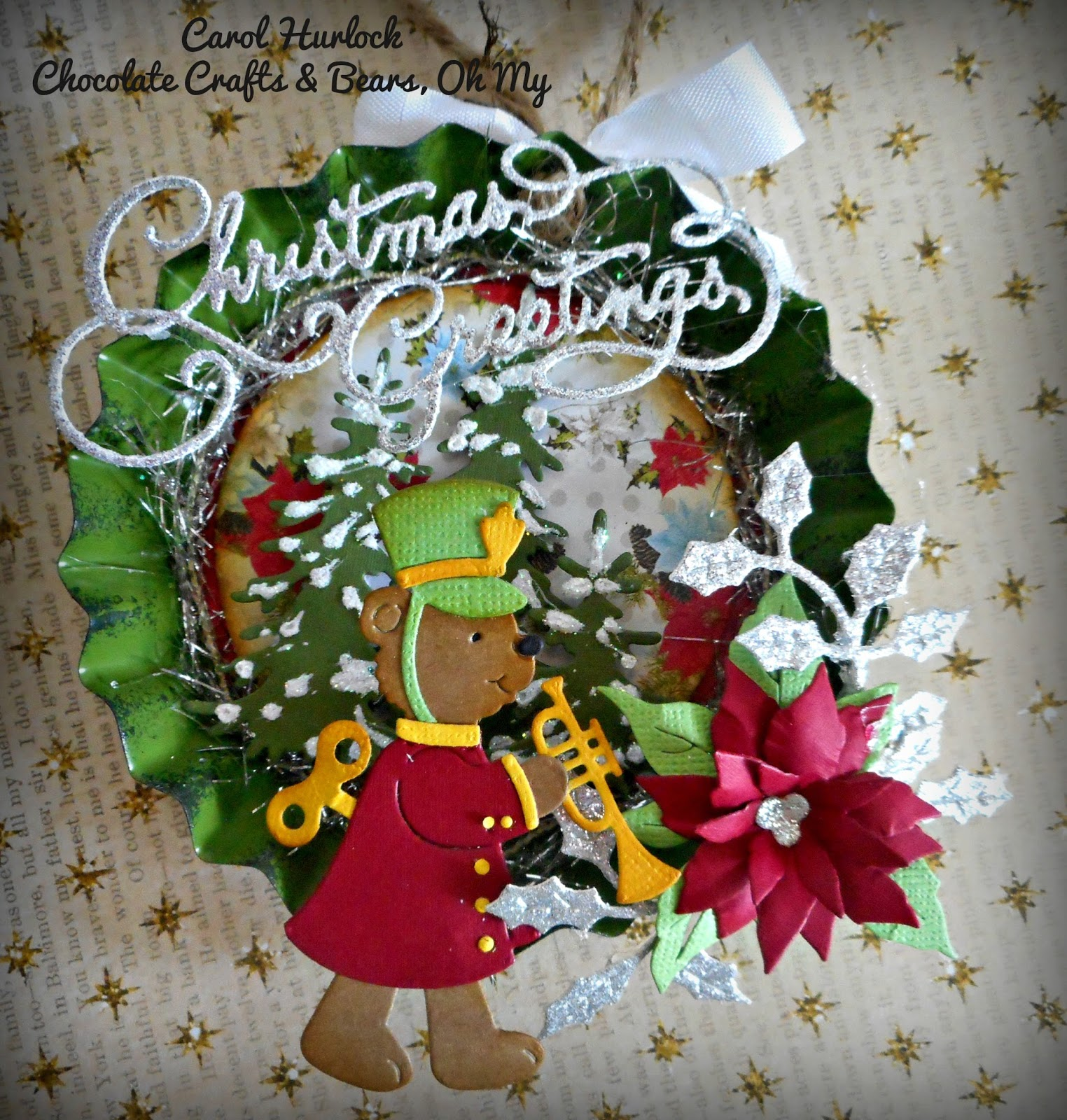 For The First Ornament We Have This Adorable Wind Up Teddy Bear From Cottagecutz I Just Love Bears And One Is Super Cute