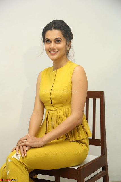 Taapsee Pannu looks mesmerizing in Yellow for her Telugu Movie Anando hma motion poster launch ~  Exclusive 002.JPG
