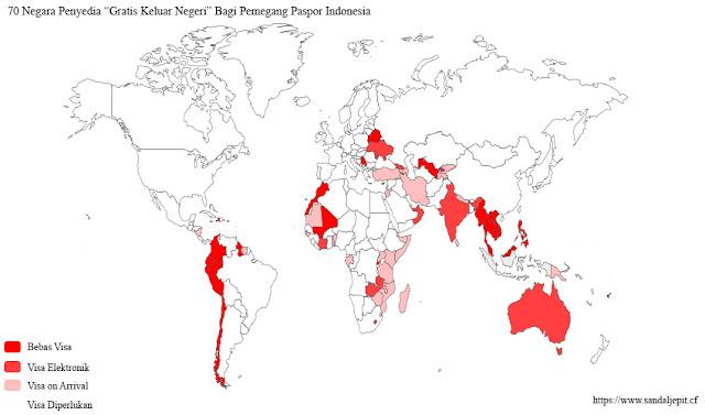 Peta dunia bebas visa