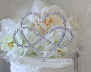 Heart Rhinestone Wedding Cake Topper