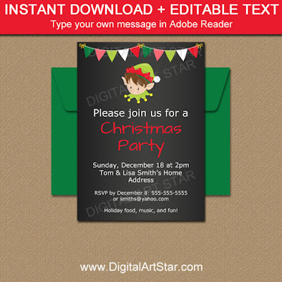 Elf Chalkboard Invitation - perfect for kids holiday parties