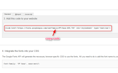 Cara memasang dan menggunakan google font di blogger