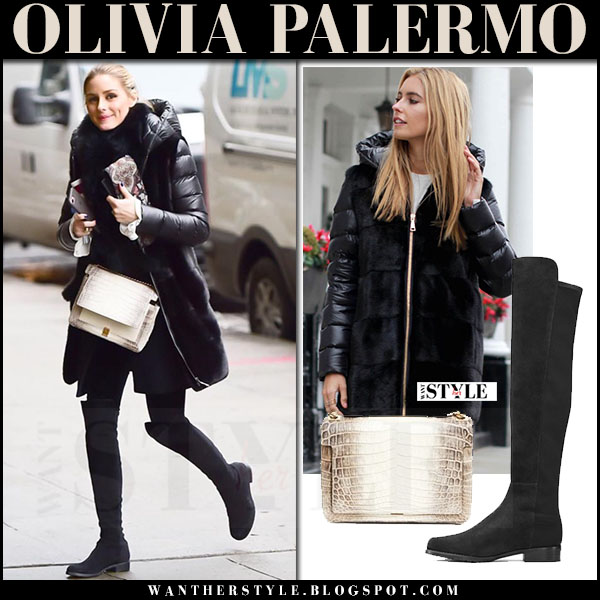Olivia Palermo in black down parka with fur panel mila furs, black suede boots stuart weitzman 50/50 and beige croc bag analeena chancellor what she wore winter style