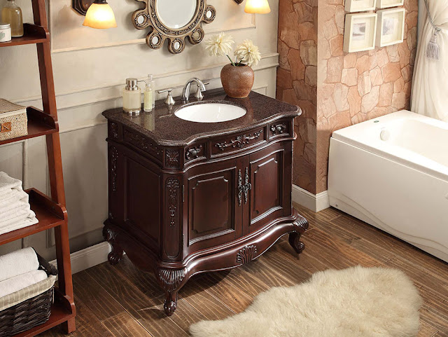 Adelina 36 inch Antique Bathroom Vanity Dark Cherry Finish