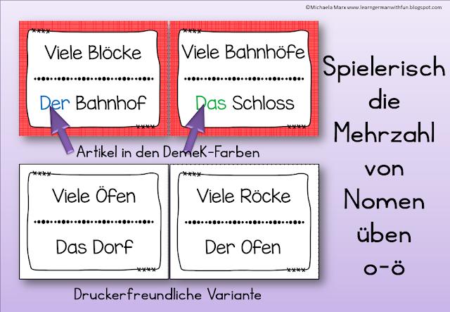 Anregendes Lesespiel für Grundschule, DaF und Legasthenietraining zum Thema Mehrzahl: aus O wird Ö.