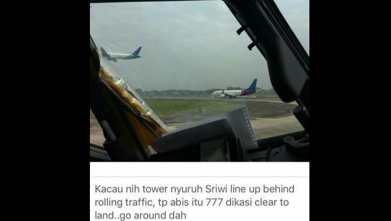 Pesawat Garuda Indonesia dan Sriwijaya Air nyaris bertabrakan