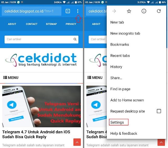 Cara Mematikan Pop up Blocker di Google Chrome Android Bahasa Indonesia