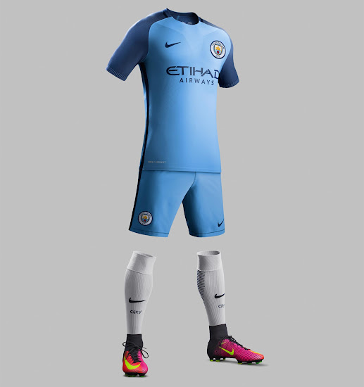 9552fd52 The most remarkable feature of the new Nike Manchester City 16-17 home kit,  apart from the logo, is the shorts and socks color combination; for the  first ...