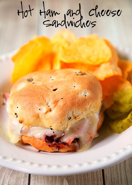 Hot Ham and Cheese Sandwiches Recipe from The Dairy Good Cookbook. Baked Ham and Cheese sandwiches with a savory butter sauce spread on the buns - butter, onion, dijon mustard, toasted sesame seeds and Worcestershire sauce. It reminded me of our favorite Party Ham Rolls, but with the yummy sauce on the inside of the sandwich instead of on top. The sandwiches tasted SOOO good. Seriously delicious. We will never eat another Hot Ham and Cheese Sandwich.