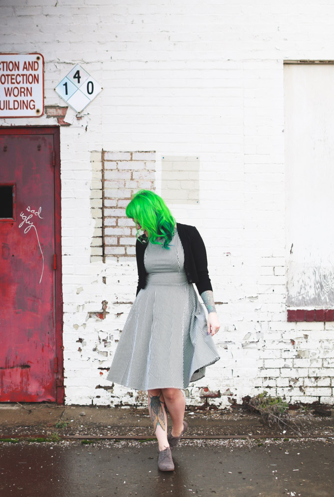 what I wore, outfit post, fashion blog, green hair